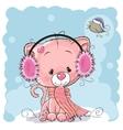 Kitten in a fur headphones vector image vector image