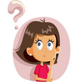 little girl having many questions cartoon vector image