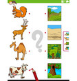 match animals and their environments educational vector image vector image