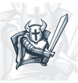 monochrome fearless knight warrior vector image vector image