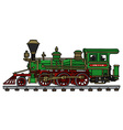 Old green american steam locomotive vector image vector image