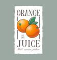 orange juice label healthy vegetables beverage vector image