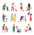 people pets perform man and woman walking vector image vector image
