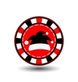 poker chip Christmas new year Santa Claus cap vector image vector image