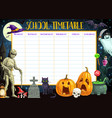 school timetable template with halloween vector image vector image