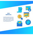 seo services banner in line style with place for vector image