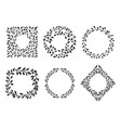set beautiful wreath and frames vector image vector image