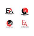 set initial letter ea logo template design vector image vector image