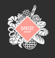 set of bakery engraved elements typography design vector image
