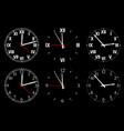 set watch isolated on a dark background vector image vector image