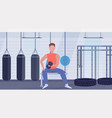 sports man doing exercises with dumbbell muscular vector image