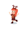 sweet redhead little girl in the costume of vector image