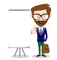 Teacher with blank poster vector image vector image