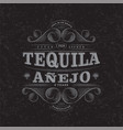 tequila anejo scratch label packaging curl decor vector image vector image
