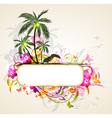Tropical background with palms and toucan vector image vector image