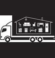 truck relocating household belongings vector image