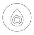 Water drop with circular arrow line icon vector image vector image