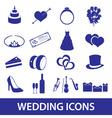 wedding icons set eps10 vector image