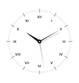 White clock face for with black and red pointer vector image