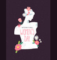 womens day beautiful flower woman greeting card vector image