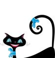 Black cat with blue eyes vector image