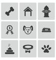 black dog icons set vector image