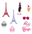 paris isolated icon set on paris theme with well vector image