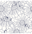Ladybug and daisy outline seamless pattern vector image