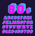 80s alphabet font design set of letters and vector image vector image
