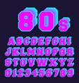 80s alphabet font design set of letters vector image vector image