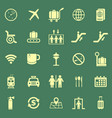 airport color icons on green background vector image