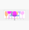billboard with different wine glasses outline vector image vector image