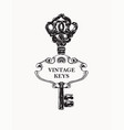 black and white banner with vintage ornate key vector image