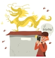 Boy with smart phone taking self near dragon vector image