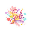 bright colorful poster sale natural cosmetics vector image vector image