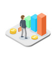 business man with growing graph isometric manager vector image vector image