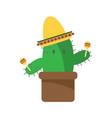 cactus cartoon character with maracas and sambrero vector image