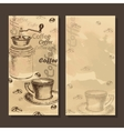 Card menu with sketch of coffe set vector image vector image