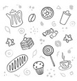 cartoon cute bakery on white background linear vector image vector image