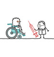 cartoon disabled old man in a wheelchair with vector image