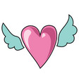 cartoon heart with wings for vector image vector image