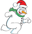 Cartoon Running Snowman vector image vector image