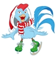 Christmas Santa Rooster symbol 2017 skates vector image vector image