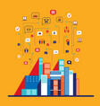 city social network infographic modern flat design vector image