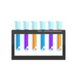 colorful laboratory glass test tubes with various vector image