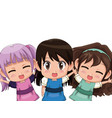 colorful set three half body cute anime tennagers vector image vector image