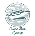 Cruise tour agency logo design with liner ship vector image