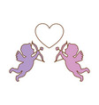 cupid angels with heart vector image vector image