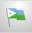 djibouti waving flag design background vector image vector image