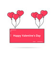 greeting card with pink balloons vector image vector image